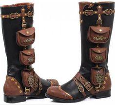 Steampunk-Stiefel-Schuhe-Vintage-Boots-Gothic-Larp-Schwarz-Braun-Renaissance