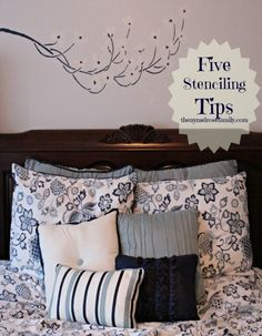 Five Stenciling Tips Diy Home Decor, Room Decor, Home Hacks, Stencils, Living Spaces, Sweet Home, Diy Projects, Floating Wall, House Design