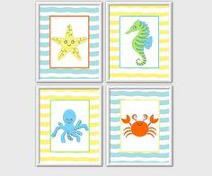 Sea Animals Baby Nursery Kids Bath Decor Green Yellow Blue Orange Baby Nursery Prints Kids Bath Prints Chevron Sea Creatures 4 PRINT SET