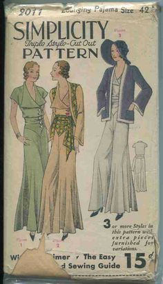 Vintage Sewing Pattern-  Simplicity # 2011 1930s
