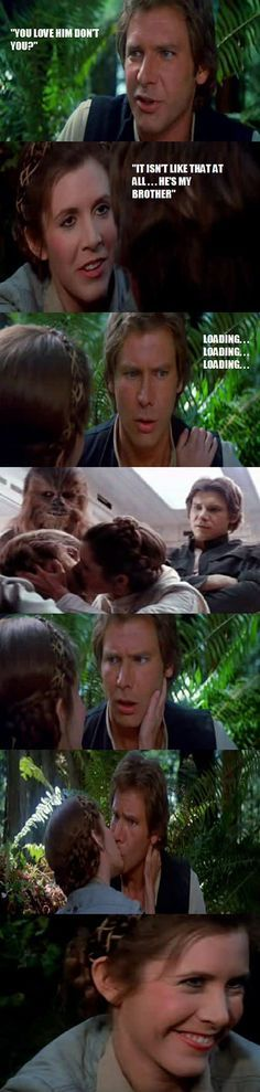 That Luke and Leia kiss always makes me cringe. But I love Han Solos reaction