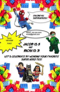 Lego Marvel Birthday Invitation Lego marvel Lego and Marvel