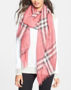 Nice for spring! Lightweight over-sized Burberry check print scarf.
