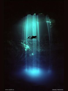 underwater cave diving.