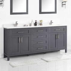 Grey Bathrooms, White Bathroom, Modern Bathroom, Small Bathroom, Master Bathrooms, Master Bath Vanity, Bathroom Plants, Large Bathrooms, Master Bedroom
