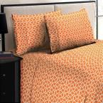 Jill Morgan Fashion Printed Geo Orange-White Microfiber Full Sheet Set (4-Piece), Oranges/Peaches
