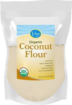 Viva Labs Organic Non-GMO and Gluten-Free Coconut Flour, 4 Pound ** Special offer just for you. Gourmet Recipes, Baking Recipes, Coconut Recipes, Baking Desserts, Flour Recipes, Easy Desserts, Sweet Potato Muffins, Low Carb Flour, Baking Flour