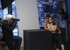 Kati Nesher, Marlon Teixeira and Karl Lagerfeld behind the scenes of the KARL LAGERFELD Eyewear 2014 campaign