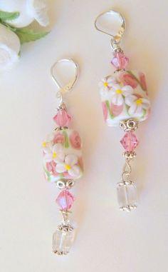 Pink White Flower Lampwork and Crystal by CrystalBeadedDesigns