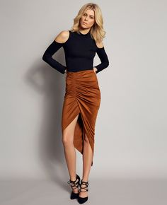Sueded Rouche Skirt - PRE ORDER - Bardot