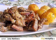 Výpečky na smažené cibuli, hrubozrnné hořčici a medu Thing 1, Pot Roast, Chicken Wings, Food And Drink, Pork, Treats, Ethnic Recipes, Carne Asada, Kale Stir Fry