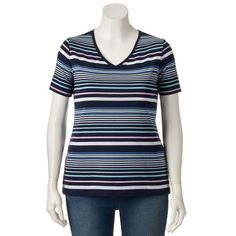 Plus Size Croft & Barrow® Essential V-Neck Tee,