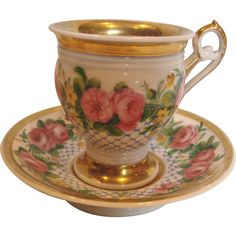 French Old Paris Cup Saucer Hand Painted Pink Roses c 1815 - 1850