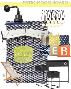 Chris Loves Julia: The Patio Mood Board; Great inspiration for our patio.  Definitely getting the IKEA outdoor sectional.