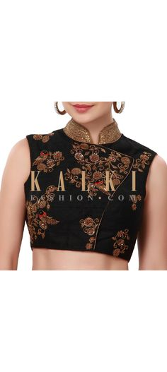 Buy Online from the link below. We ship worldwide (Free Shipping over US$100). Product SKU - 316811. Product Price - $109.00. Product Link - http://www.kalkifashion.com/black-blouse-adorn-in-bird-motif-embroidery-only-on-kalki.html