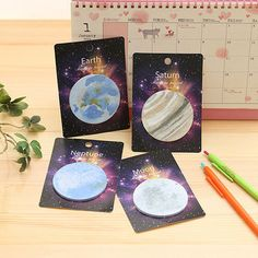 Planet Sticky Notes Korean Stationery Kawaii Cute Memo Planner Notepad Set Round #Unbranded
