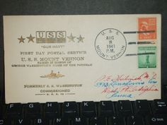 USS MOUNT VERNON AP-22 Naval Cover 1941 HUTNICK COMMISSIONED Cachet FDC