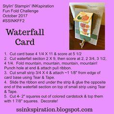 Stylin & # Stampin & # INKspiration: Fun Fold: Waterfall Card - Card making Card Making Templates, Card Making Tips, Card Making Tutorials, Card Making Techniques, Fancy Fold Cards, Folded Cards, Waterfall Cards, Stamping Up Cards, Rubber Stamping