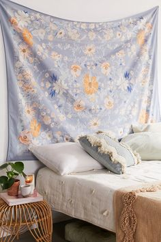 Shop Kimset Folk Floral Tapestry at Urban Outfitters today. We carry all the latest styles, colors and brands for you to choose from right here. Bedroom Wall, Bedroom Decor, Wall Decor, Dorm Tapestry, Tapestry Floral, Tapestries Diy, Tapestry Ceiling, Beach Cottages, Bedrooms
