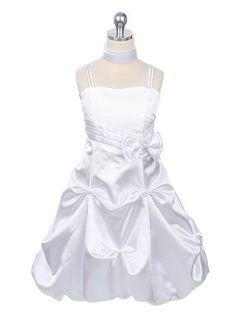 White Satin Bubble Flower Girl Dress