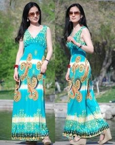 Bohemian Long Maxi Retro Sleeveless V-Neck Dress on BuyTrends.com, only price $10.99