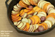 Skillet Roasted Lemon Pepper Potatoes is a beautiful dish for Easter. A cast-iron skillet is filled with sweet potatoes, russet potatoes and red potatoes flavored with fresh lemon and fresh ground ...