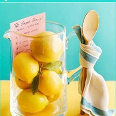 Next time you are invited to a party, present the hostess with this fun gift:  a pitcher filled with lemons, a wooden spoon tied to the handle with a dishtowel and a lemonade recipe that can double as a gift tag.  Check out the full post for additional great hostess gift ideas.