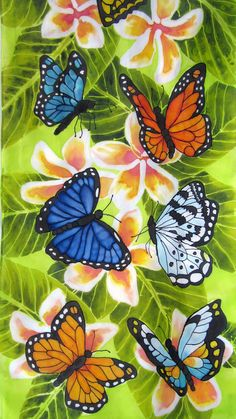 Flowers and Butterflies Hand Painted Silk Scarf di SilkPaintingAu Butterfly Scarf, Butterfly Quilt, Butterfly Painting, Monarch Butterfly, Blue Butterfly Wallpaper, Flower Wallpaper, Painted Rocks, Painted Silk, Hand Painted
