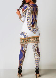 Dashiki Print Top and Ankle Length Pants on sale only US$26.37 now, buy cheap Dashiki Print Top and Ankle Length Pants at liligal.com