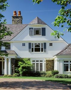 The Classic White Exterior Design With Charming Windows Design With Gray Casements Also Stone Chimney And Green Plants Decoration Classic American white house with luxurious interior details Home design Classic American white house with luxurious interior details http://seekayem.com
