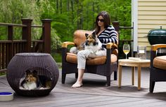 Give your dog their own enclosed space while on your open deck. The Indoor/Outdoor Igloo Dog Bed gives your dog a hide-a-way you can place in or outside your home. Garden Furniture Design, Dog Furniture, Outdoor Dog Bed, Indoor Outdoor, Dog Igloo, Luxury Pet Beds, Designer Dog Beds, Dog Houses, Dog Leash