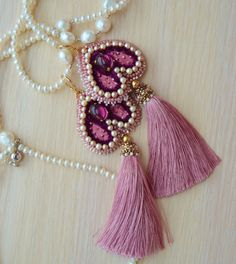 "Earrings ""Juliet"".Velvet, vintage rhinestones,Japanese beads, silk tassels.Beaded embroidery.Handmade."