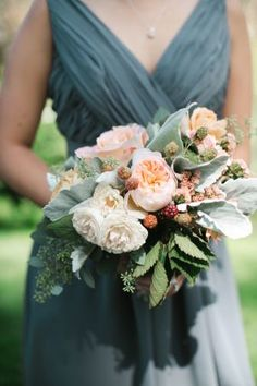 Aqua Bridesmaid Dress with a Loose and Romantic Peach Rose Bouquet | Michele M. Waite Photography | See More! http://heyweddinglady.com/soft-and-romantic-candlelight-wedding-inspiration/