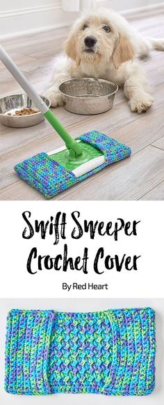 Swift Sweeper Crochet Cover free crochet pattern in Scrubby Smoothie yarn. This washable crochet cover is ready to clean up the messes that are inevitable with adorable pets and children. Make a few of these in this absorbent cotton yarn and always have one ready for the job at hand. #cottonyarn