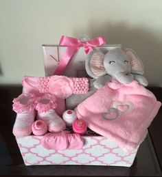 Pink Elephant Baby Girl Basket https://www.etsy.com/listing/246579966/pink-elephant-baby-girl-basket?ref=shop_home_active_19