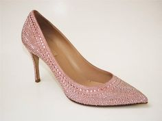 VALENTINO Pink Microstudded Suded Pointed Toe Pump Heel Shoe