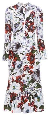 Erdem Connie Printed Silk Dress