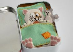 Felt Cat Plush Sleeping In An Altoid Tin With Teddy Bear And Bedding - Calico…