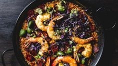 Shrimp & Chorizo Paella: Bomba rice is a short-grain, starchy type, and its ideal texture is tender but chewy in the center, like al dente pasta. Try not to overcook. Use the shrimp shells and chorizo ends to make the Back-Burner Stock. Shrimp Paella Recipe, Seafood Paella, Shrimp Recipes, Paella Pan, Jambalaya Recipe, Shrimp Dishes, Fish Dishes, Korma, Biryani