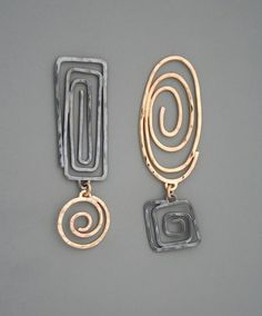 Mixed metal spiral earrings in sterling silver and gold filled, Rachel Wilder Handmade Jewelry