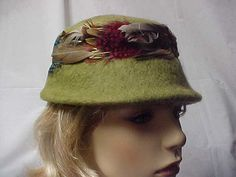 Moss green wool cloche hat with colorful side by designer2 on Etsy, $24.00