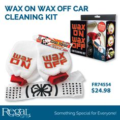 WAX ON WAX OFF CAR CLEANING KIT from Regal Gifts All you need to take your first steps in learning karate: whilst keeping your car spotless and shiny! Includes 2 car waxing mitts, tube of car wax and karate bandana. Product: FR74554 http://www.Regal.ca