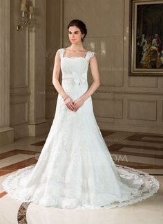 A-Line/Princess Square Neckline Chapel Train Satin Tulle Wedding Dress With Lace Bow(s) (002011757)