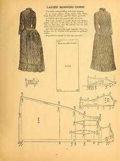 Ladies' Morning Dress 1888 Costume Patterns, Doll Patterns, Clothing Patterns, Sewing Patterns, Shirt Patterns, Vintage Dress Patterns, Vintage Sewing, Historical Costume, Historical Clothing