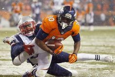 Denver Broncos wide receiver Emmanuel Sanders (10) pulls in a catch to set up a touchdown as New England Patriots middle linebacker Jerod Mayo (51) defends during the second half of an NFL football game, Sunday, Nov. 29, 2015, in Denver. (AP Photo/Jack Dempsey)