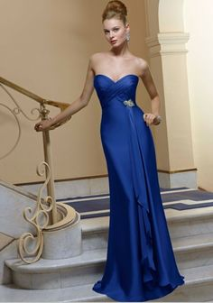 Simple royal blue bridesmaid dress