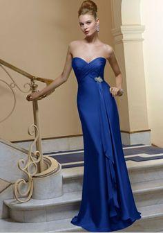 Simple royal blue bridesmaid dress