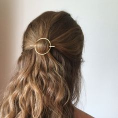 Minimalist gold hair accessories - brass hair clip - round barrette - hair pin - gold hair slide