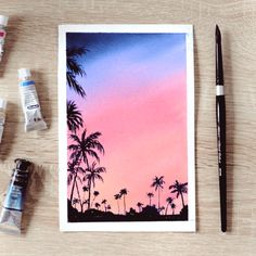 Tree Watercolor Painting, Watercolor Art Landscape, Watercolor Paintings For Beginners, Watercolor Art Lessons, Sky Painting, Beach Sunset Painting, Poster Color Painting, Watercolor Sunset, Small Canvas Art