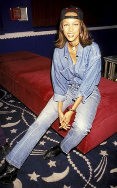 Tyra Banks street style in the '90s Levi's were the thing, I had 4-5 pairs, but we didn't all walk around looking like we were in The Million Dollar Saloon in Dallas.  Dallas-wear was more like bodycon with stilettos back in those days.